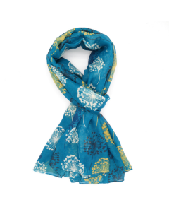 1137 TURQUOISE -Watercolour Dandelions Scarf Turquoise