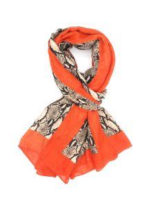 21042 ORANGE -Snake Print Scarf Orange